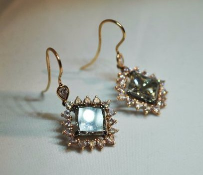 9 Ctw. Green and 2.2 Ctw. Pink Diamond Earrings