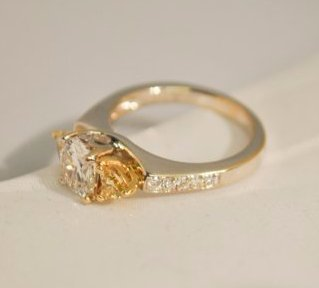1 ct. Cushion-Cut Diamond Ring with 2 Yellow Accent