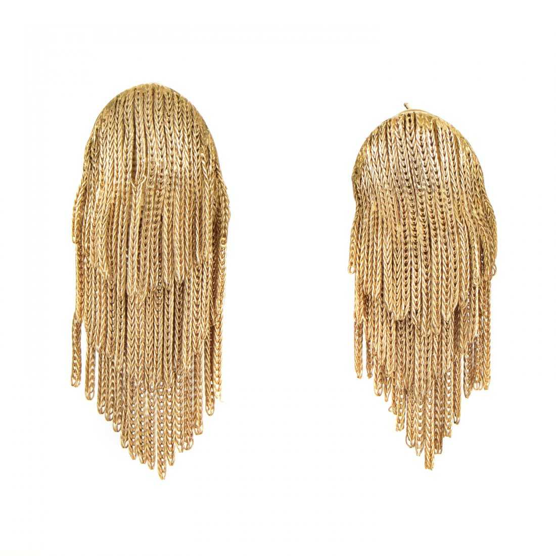 Vintage 18k Yellow Gold Fringe Earrings
