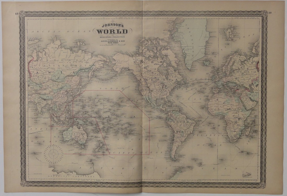 Map of World / Mercators Projection, 1868