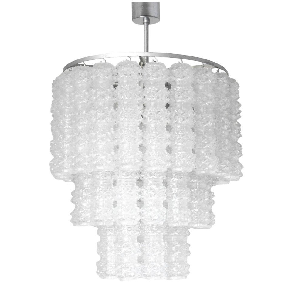 Murano Textured Glass Tubes Chandelier By Venini
