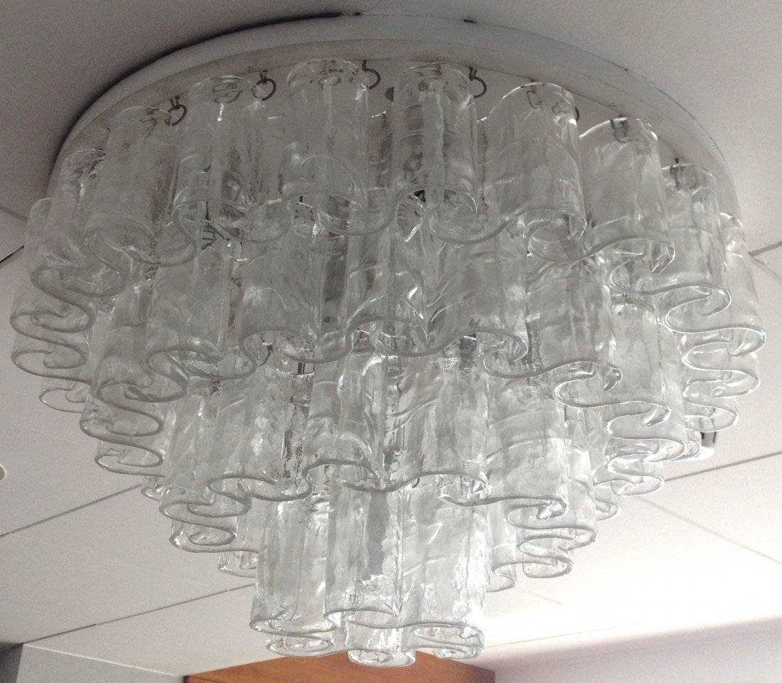 Murano Clear Waves Chandelier / Flush Mount By Mazzega