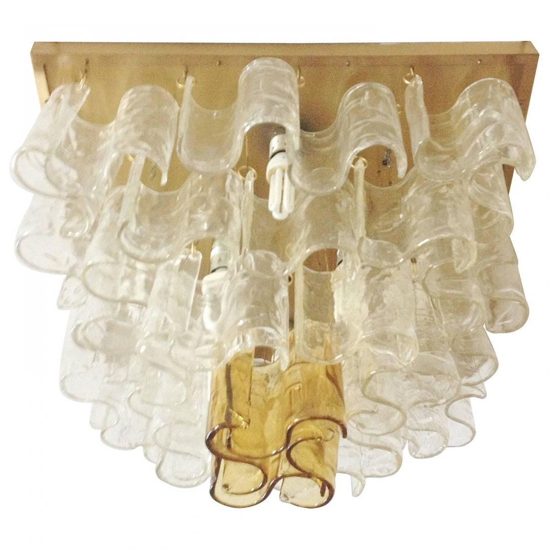 Murano Clear/Amber Wave Chandelier By Mazzega