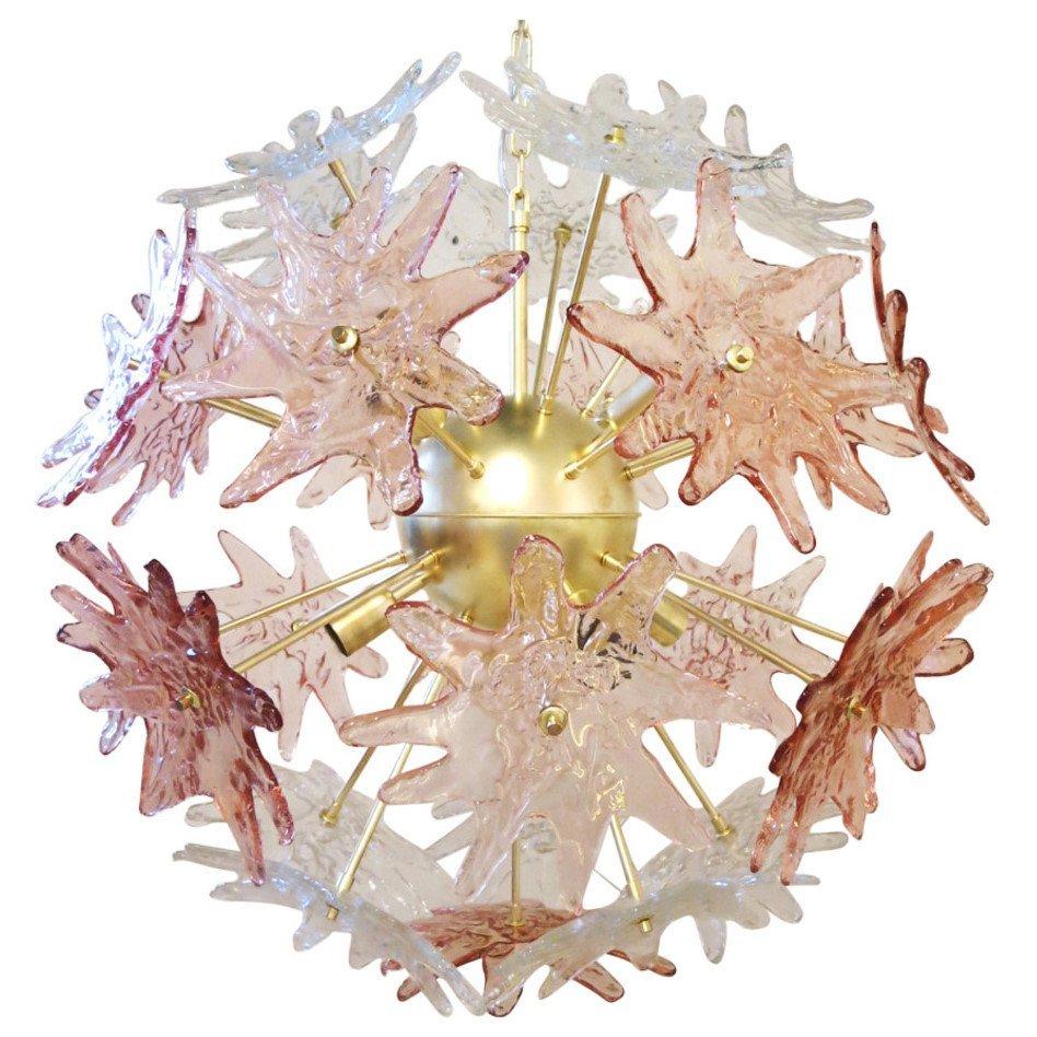 Pair Of Murano Pink & Clear Stars Sputnik Chandeliers