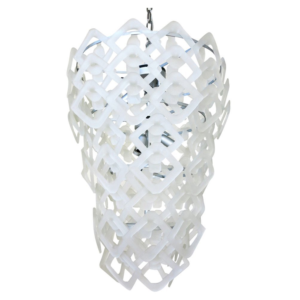 Murano Frosted Diamond Glass Chandelier By Mazzega