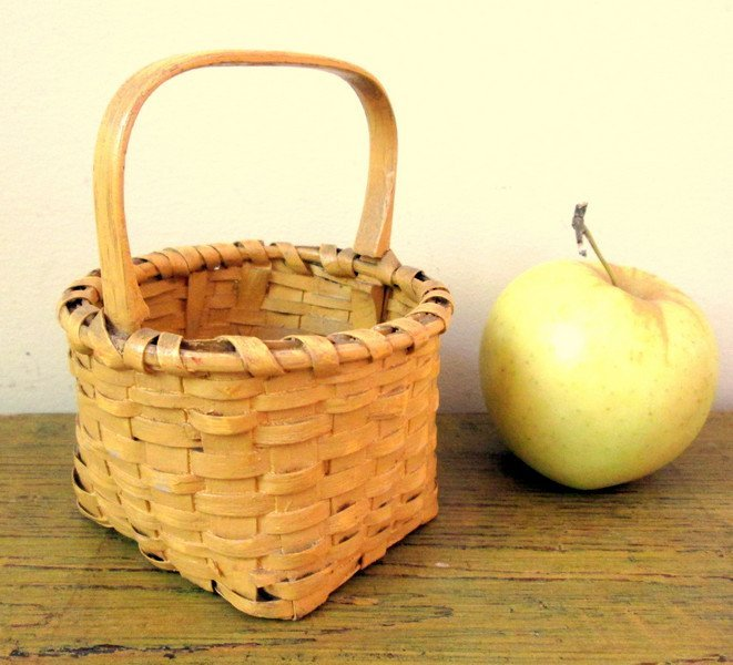 Tiny Early Yellow Painted Basket