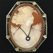 Vintage 14k White Gold Diamond & Shell Pin