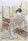Japanese Woodblock Print Isoda Koryusai Geisha Sitting