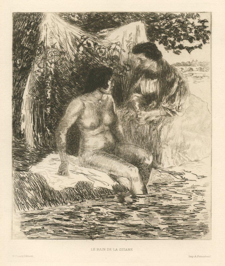 """Alexandre Lunois """"Le bain de la Gitane"""" Etching"""
