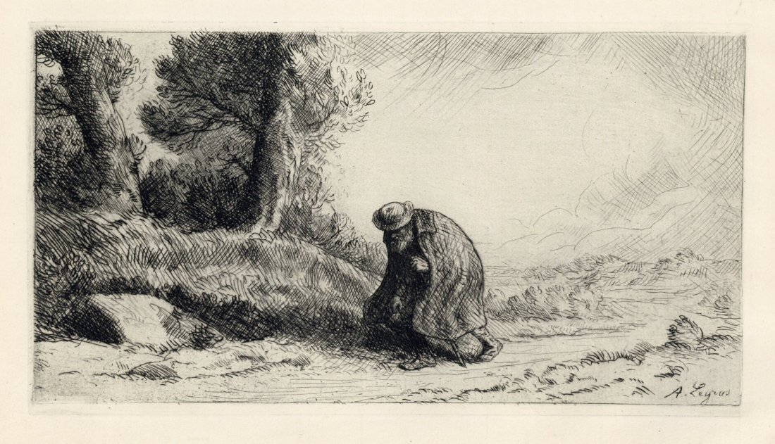 "Alphonse Legros ""The Wayfarer"" Etching"