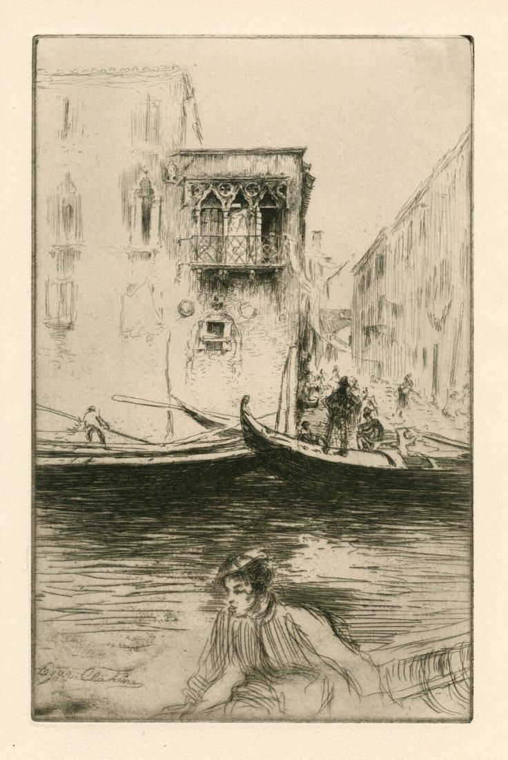 "Edgar Chahine ""Rio Ca Foscari, Venice"" Etching"