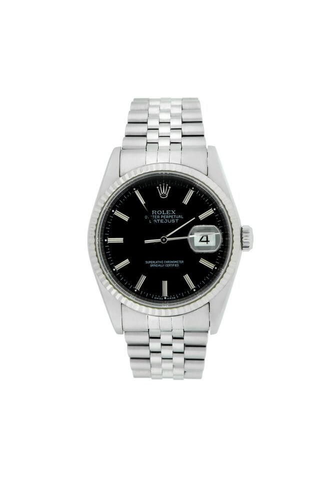 Mens Rolex White Gold Bezel and Stainless Steel Watch