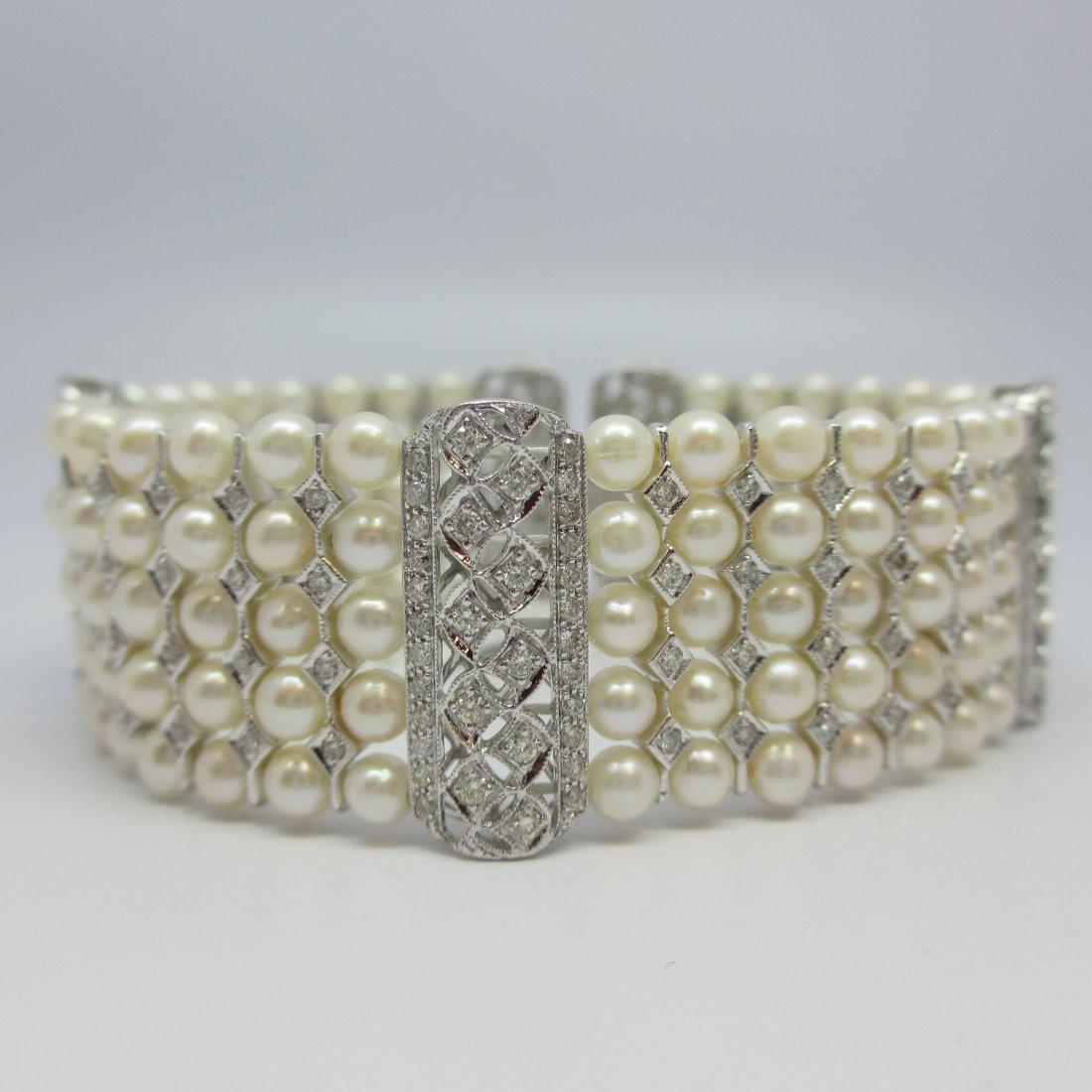18K WhiteGold NaturalDiamond 5 Row Pearl Bracelet