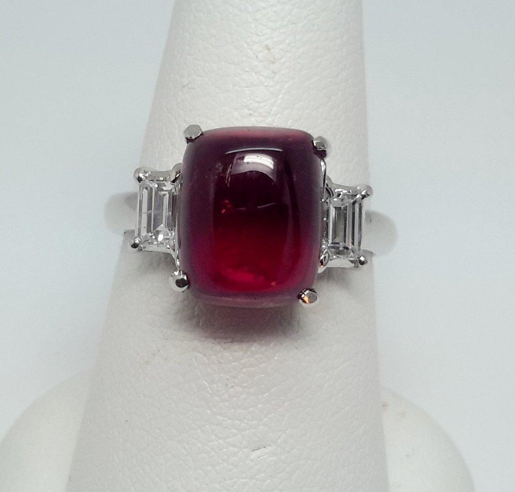 Platinum Rubellite Diamond Ring