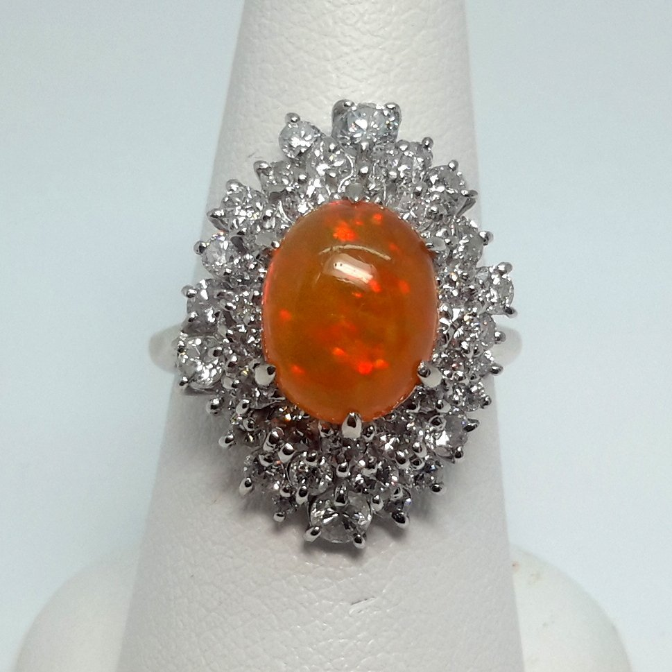 Platinum Diamond and Fire Opal Ring