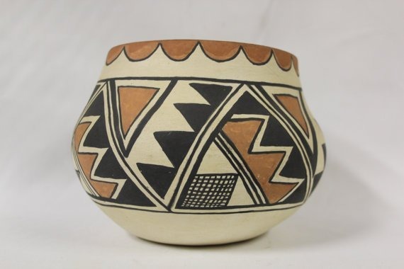 Native American Isleta Pottery Bowl, Signed By Lucy R.