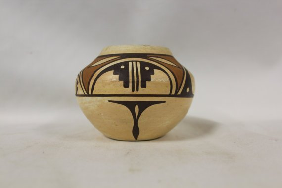 Isleta Polychrome Pottery Jar With Hopi Design By