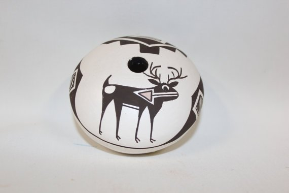 Native American Acoma Pottery Seed Pot, Signed By