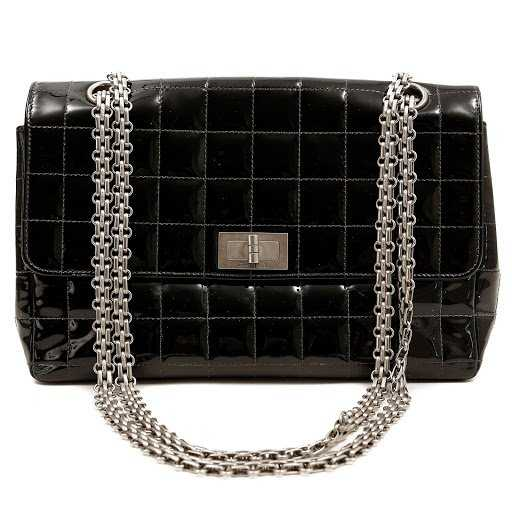 4d03669d36f741 Chanel Black Patent Leather Chocolate Bar Stitched Bag. placeholder. See  Sold Price
