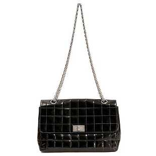 ab7dfa4b5ac8 See Sold Price. Chanel Black Patent Leather Chocolate Bar Stitched Bag ...