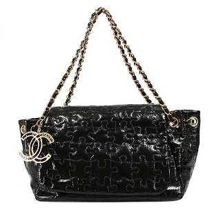 403a80df39f6 See Sold Price. Chanel Black Patent Puzzle Quilted Accordion Flap Bag ...