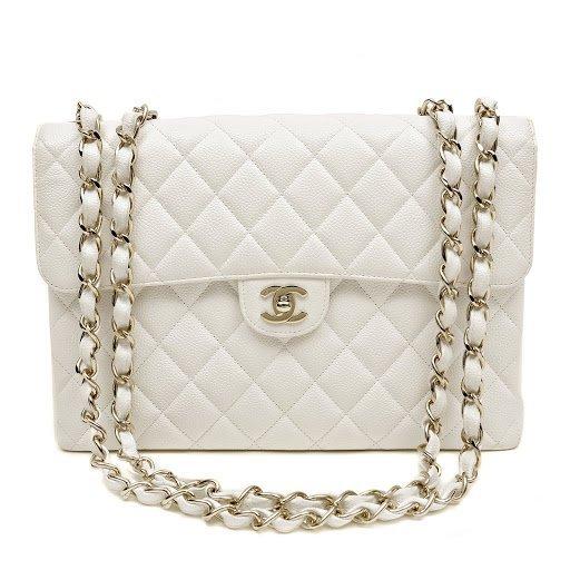Chanel White Caviar Jumbo Classic Flap Bag