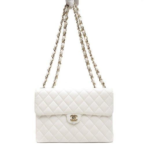 Chanel White Caviar Jumbo Classic Flap Bag - 2