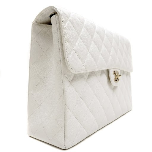 Chanel White Caviar Jumbo Classic Flap Bag - 3