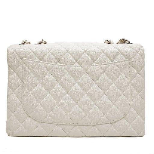 Chanel White Caviar Jumbo Classic Flap Bag - 4