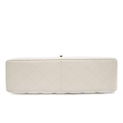 Chanel White Caviar Jumbo Classic Flap Bag - 5