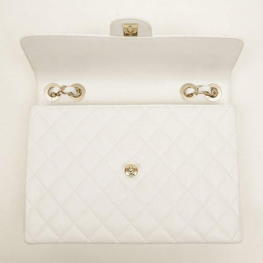 Chanel White Caviar Jumbo Classic Flap Bag - 6