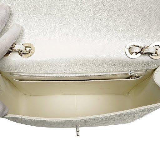 Chanel White Caviar Jumbo Classic Flap Bag - 7