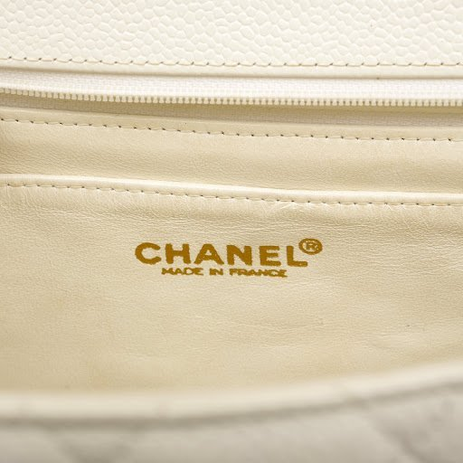 Chanel White Caviar Jumbo Classic Flap Bag - 8