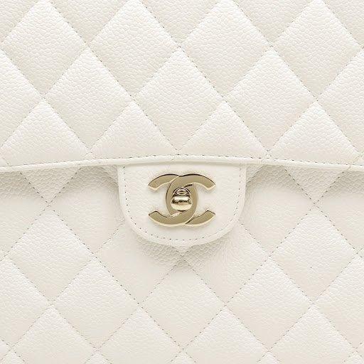 Chanel White Caviar Jumbo Classic Flap Bag - 9