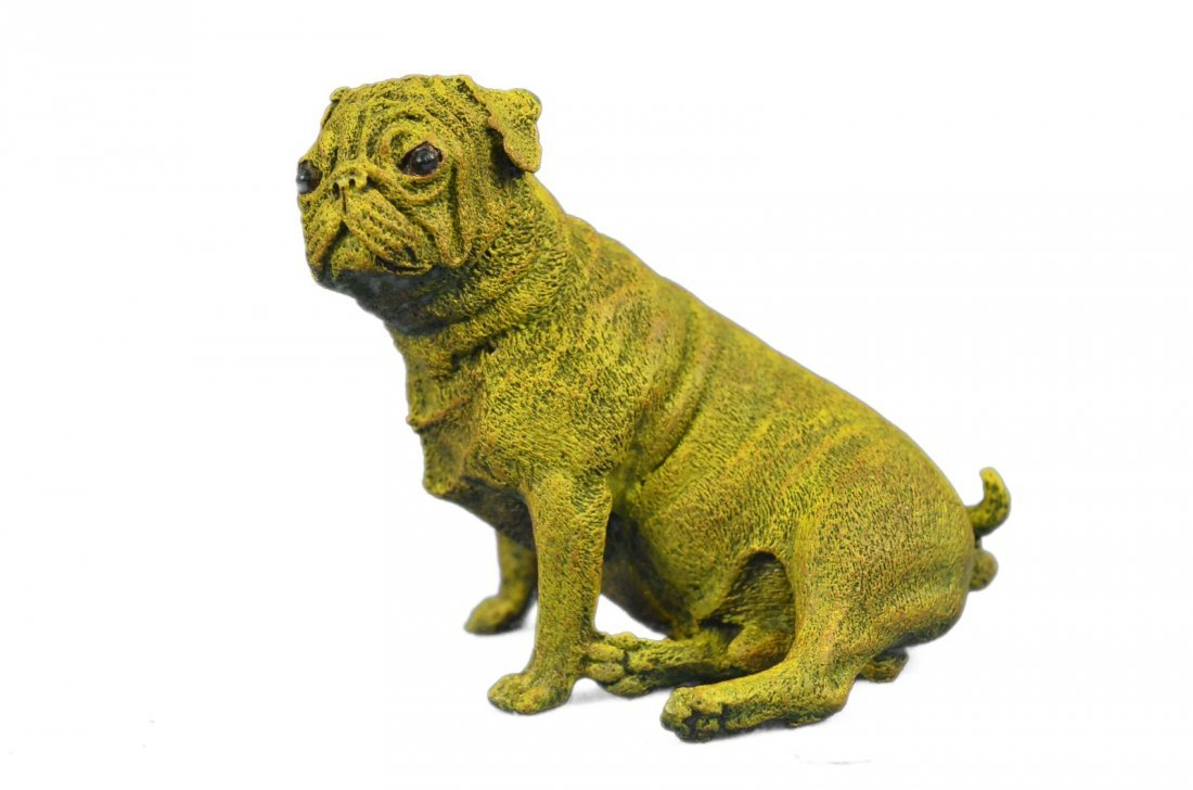 Solid Bronze Pug Sculpture on Marble Base
