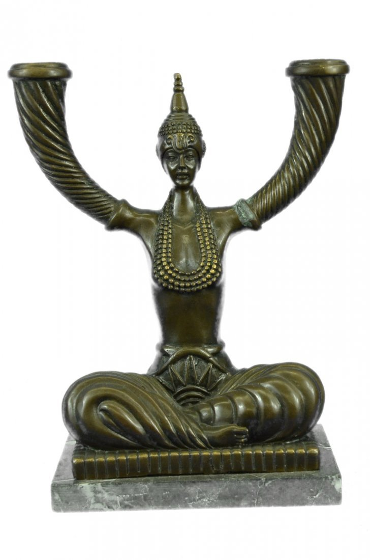 Bronze Candelabra Sculpture on Marble Base