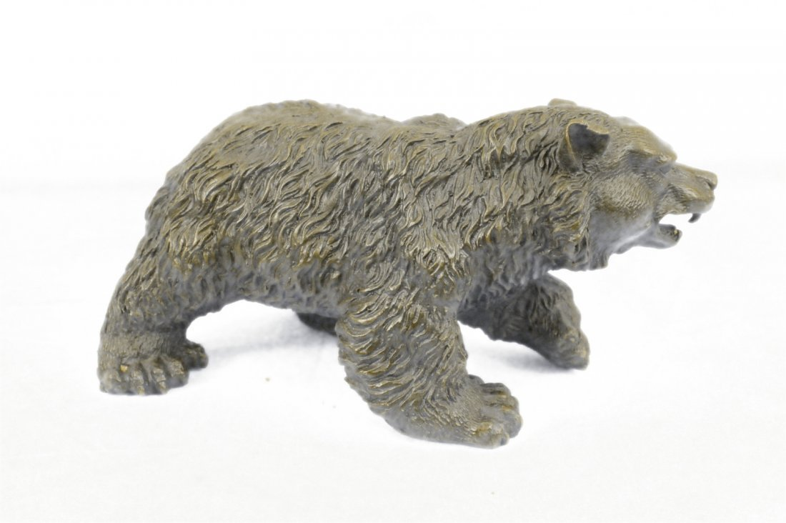 Bronze Bear Sculpture on Marble Base