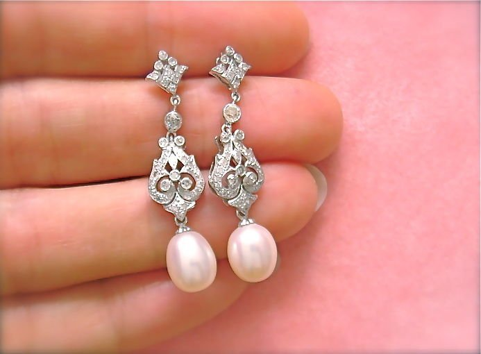 ANTIQUE STYLE .42ct DIAMOND WHITE PEARL DROP EARRINGS