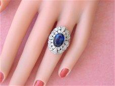 ANTIQUE ART DECO .30ctw DIAMOND 4ct BLUE SAPPHIRE 18K