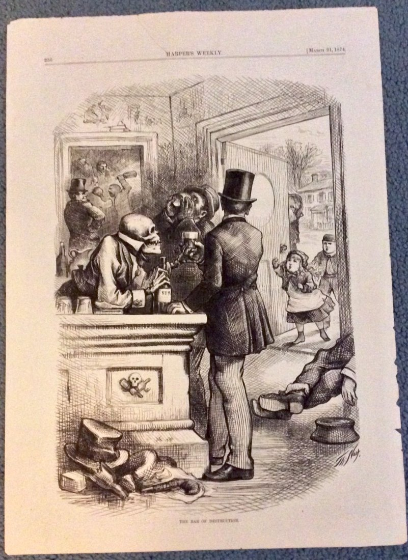 ANTIQUE 1874 Thomas Nast Full Page Harper's Weekly