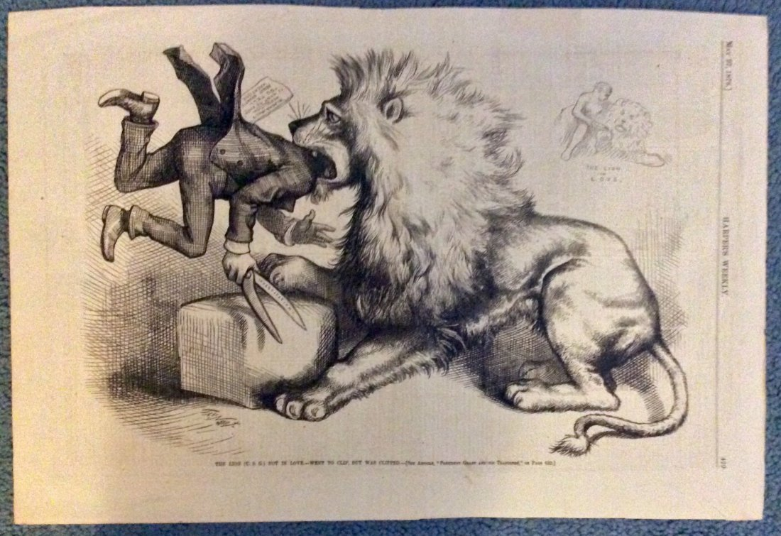 ANTIQUE 1876 Thomas Nast Full Page Harper's Weekly