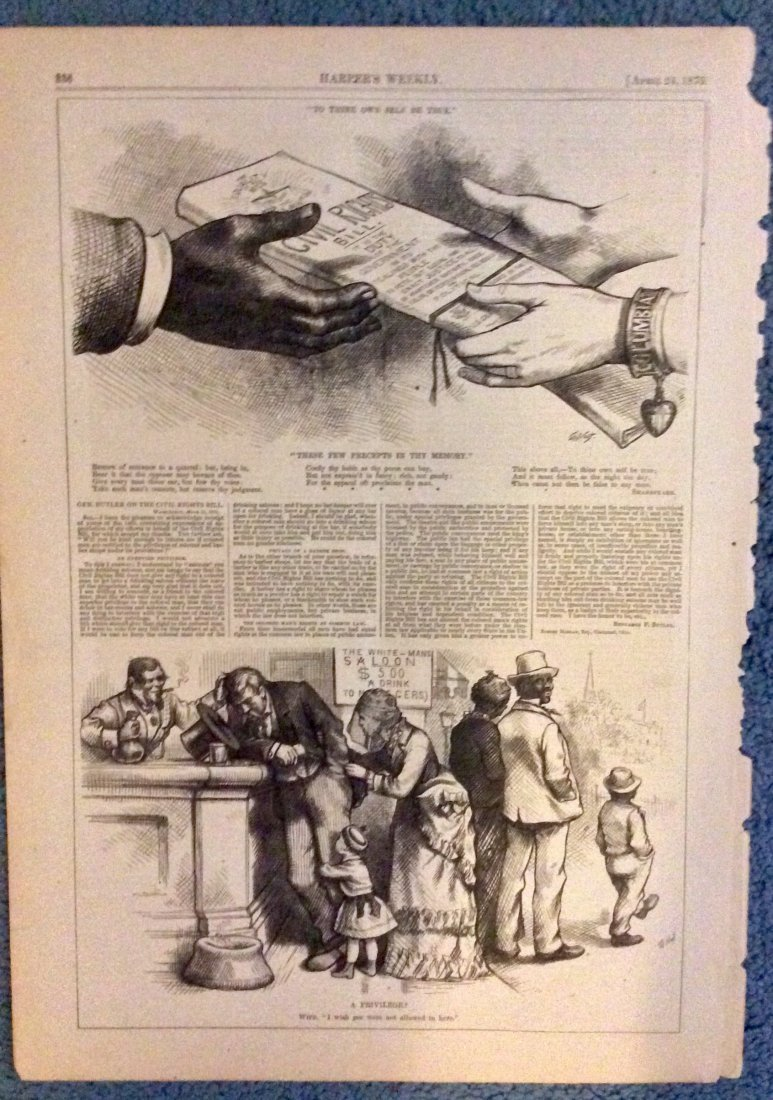 ANTIQUE 1875 Thomas Nast Full Page Harper's Weekly