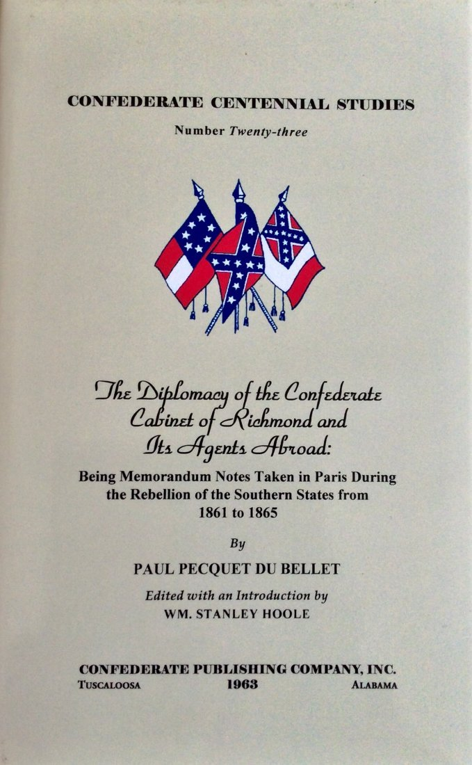 Limited Ed HC CW History in DJ. Confederate Diplomacy