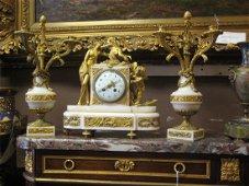 Thomas & Cie Paris Marble and Dore Bronze Clock Set