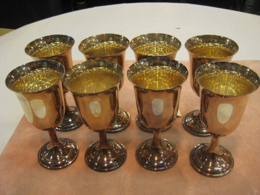 8 International Silver Co. Wine/Water Goblets