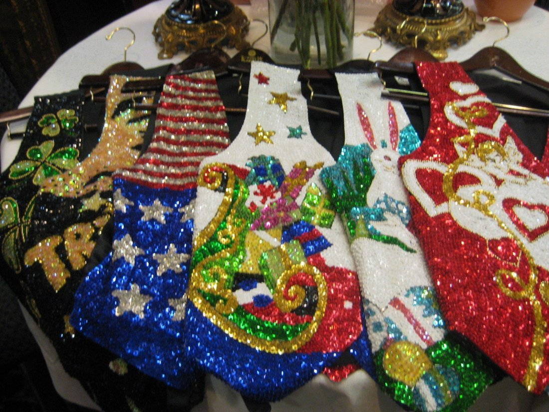 6 Vintage Sequin Beaded Boho Unisex Hippie Vests