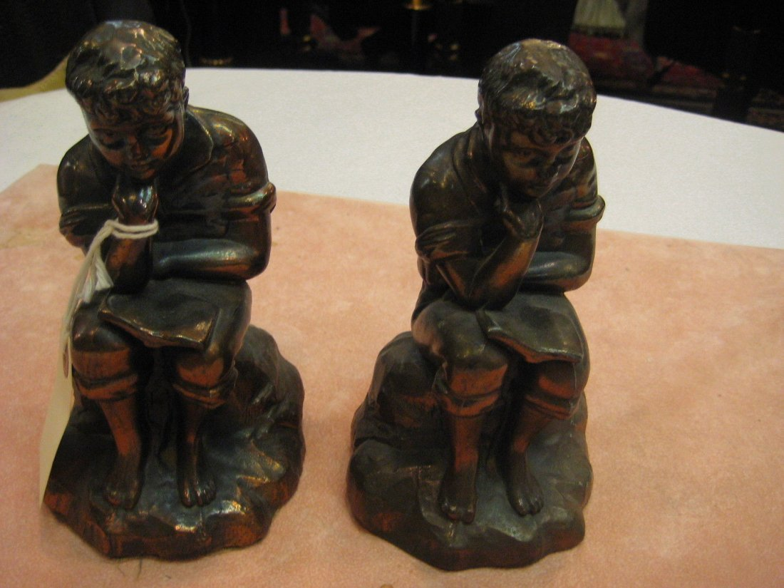 Vintage Pair of Bronze Figural Bookends