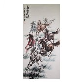 Chinese Scroll, Red and Black Horses