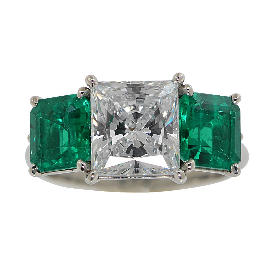 2.32ct GIA Graded F VS2 and Emerald Ring