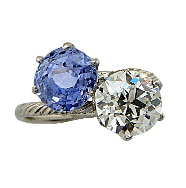Tiffany & Co. Platinum Diamond and Sapphire Bypass Ring